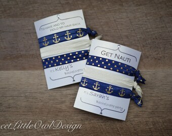 """Nautical Bachelorette/ Party Favors/ Hair Ties/ Navy Blue and Gold Anchor Elastic Hair Ties- """"To have and to hold my hair back"""" """"Get Nauti"""""""