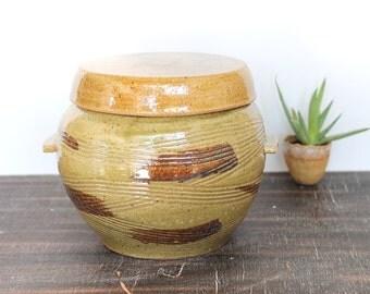 Korean Hangari, Handmade Pottery Jar with Lid, Korean Onggi Jar, Stoneware Ceramic Lidded Jar,