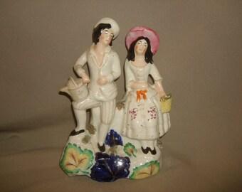 "Antique Staffordshire Figure ~ Gentleman & Lady Gardeners ~ Flatback c1880 ~ Man Woman Couple (10"" x 7""w)"