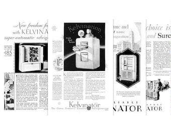 1920's Advertising Art, Kelvinator, Fridge, Refrigerator, Series, Vintage Home Ads, Kitchen Decor, Instant Download Printable, Set of 4