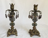 Hollywood Regency candleholders Gothic smokey gray glass crystal prisms smoky smoked gray brass candle holders pair