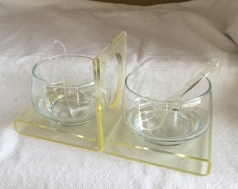 Lucite kitchen condiment tray bowls spoons 1950s 1960s mid-century acrylic catering dining serving jam jars