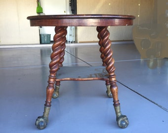 "Barley twist table antique huge 3"" glass ball & claw feet Old Man North Wind face cherry maple beech round occasional side table Victorian"