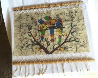 "Vintage batik parrot mid century TIKI room wall art signed Diana Rio macrame rattan bamoo frame fringe 22-1/2"""