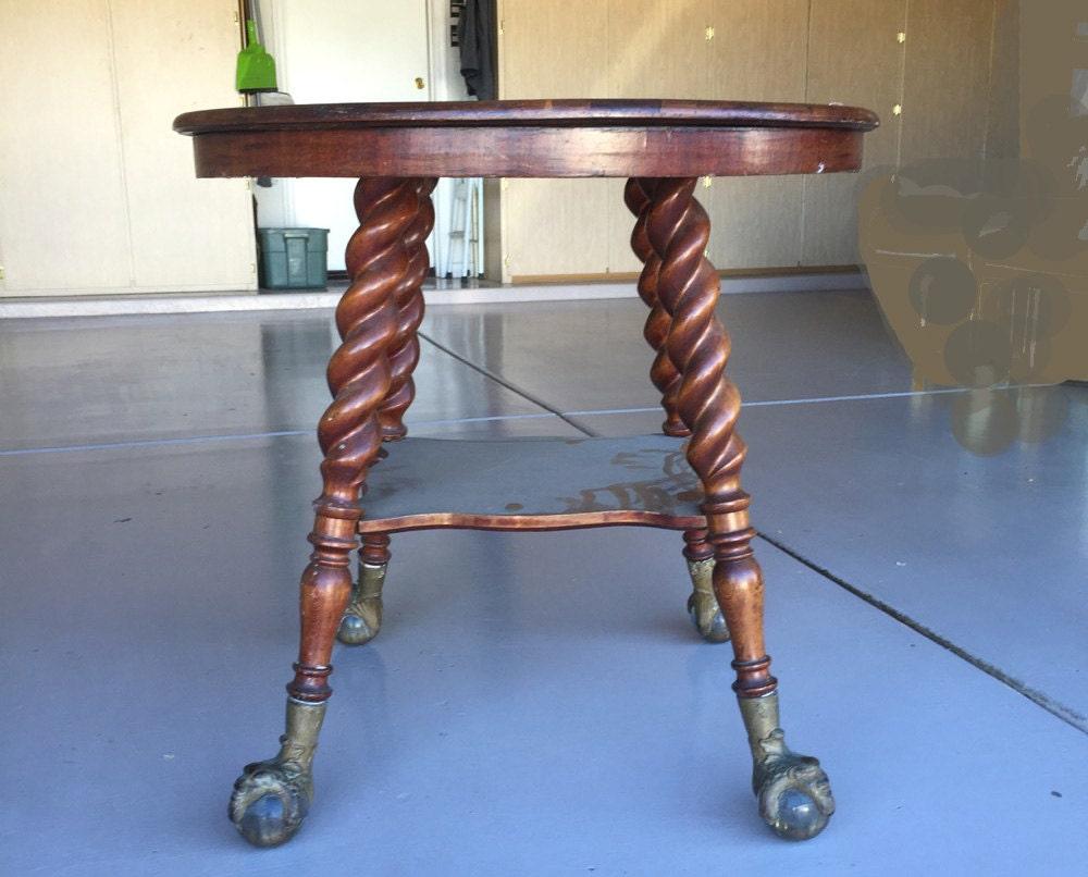 Barley Twist Table Antique Huge 3 Glass Ball Amp Claw Feet