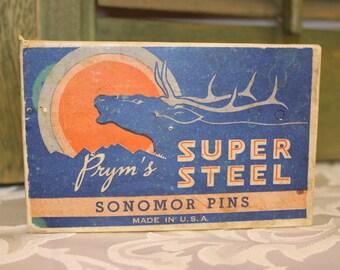 Vintage 1930s Prym's Super Steel Sonomor T Pins 1/2 lb Dressmaker Pins Dayville, Conn.