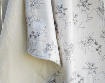 Organic Baby Blanket - Large Botanical Sketch, Organic Cotton Blanket, Organic Throw