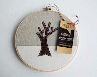 Quilted Fiber Art Hoop, Mini Art Project, Hoop Art, Stitch Art, OOAK Wall Hanging - Winter Tree