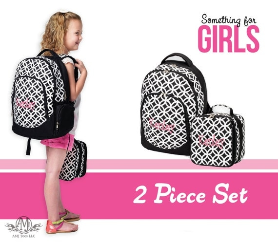 Personalized girls Backpack and Lunch Box set girls gift