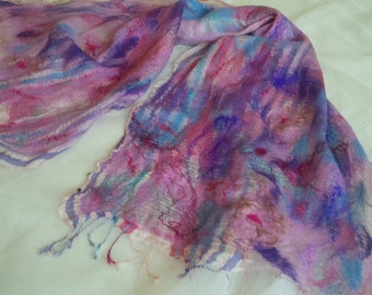 SALE, Nunofelted, felted, wrap, shawl. scarf, purple, pink, blue, multicolor - Claude Monet