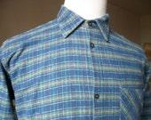 Vintage French shirt work chores woodworking warm 100% cotton flannelette check green/blue size 15 collar