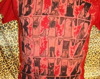 youth medium bleached red blitz shirt uk82 oi