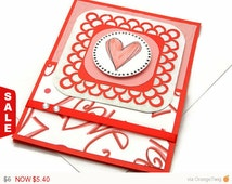 Love Card - Valentine Card - Blank Cards - Handmade Greeting Card - Red Heart Card - Handmade Stationery - Unique Cards - All Occasion