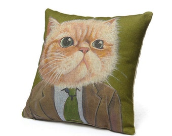 Cats In Clothes Pillow Cover - Harold - Painting by Heather Mattoon