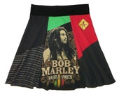 Bob Marley Plus Size 2X 3X Upcycled Hippie Skirt Women's recycled t-shirt clothing from Twinkle