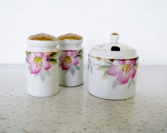 Vintage 1920s Noritake Azalea Condiment Set Salt and Pepper Mustard Jar Hand Painted Green Wreath