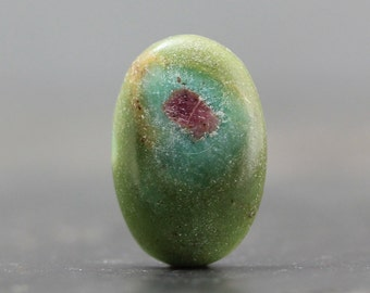 Ruby Fuchsite Gemstone Cabochon - Wire Wrap Bezel Set Lapidary Cab, Natural Green Colorful Stone from the Earth, Minerals Beads (CA4971)