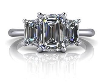 Three Stone Emerald Cut Engagement Ring SUPERNOVA Moissanite 1.54 CTW