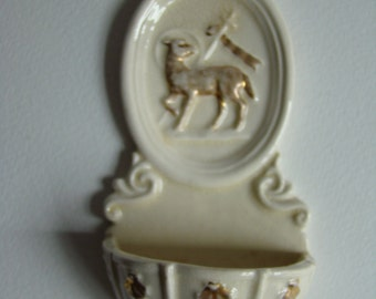 Antique Holy Water Font with the Paschal Lamb and St Jacques shells - France XIX 19th Century -