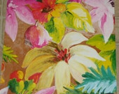 """Leather 12""""x12"""" Huge colorful Flower Printed Pattern slightly FLAWED Cow hide 2.5 oz/ 1 mm #2 PeggySueAlso close out"""