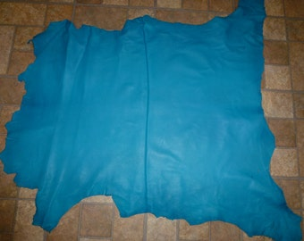 "Leather 32""x27"" Turquoise Cationic Finished Goatskin 7.25 sq ft Hide 2.25-2.75 oz / 0.9-1.1 mm #150 PeggySueAlso™"