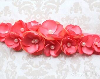 Coral Peach Wedding Sash/ Bridal Ribbon Sash/ Bridesmaids Sash/ Handmade Accessory