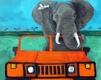 "Elephant Art PRINT of an original oil painting,""Off Road Rage"",Signed Original,8x10"
