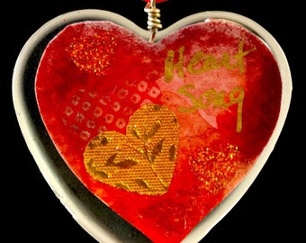 "Heart Shaped Epoxy Resin Pendant - ""Heart Song"""