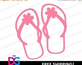 "30% OFF - Flip Flops Vinyl Decal Sticker - FREE SHIPPING - 2"" 3"" 4"" 5"" 6"" 7"" 8"" 9"" 10"" 11"""
