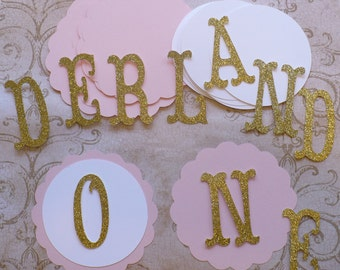 Scallop Circles Princess Gold Glitter Letters ONDERLAND Die Cuts DIY Kids Crafts Birthday Party Banners Baby Girl