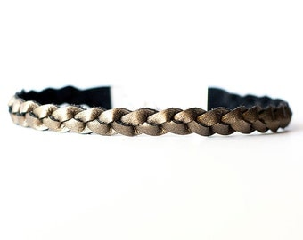 Braided Leather Choker / Necklace / Aged Bronze