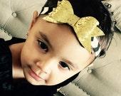 Baby Girl Headband with black , white and gold  glitter bow Baby elastic Headband