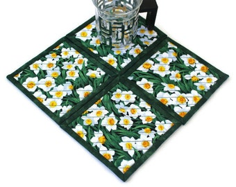 Daffodils Coasters, Quilted Fabric Coasters, Easter Bar Mats, Floral Candle Mats, Green Coasters, Set of 4 Coasters, Quiltsy Handmade