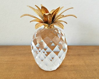 Swarovski Crystal Pineapple with Gold Leaves Large Size