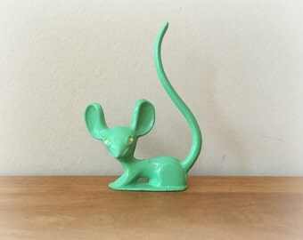 Vintage Metal Revere Mouse Ring Holder Green