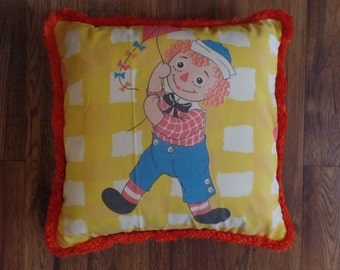 """Raggedy Andy Decorative Pillow made with a Repurposed vintage 1970's sheet and orange trim - 14"""" x 14"""""""