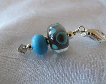 Grey and Blue Scissor Fob