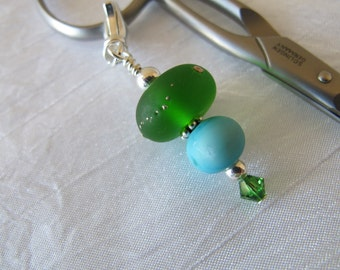Seaglass Green and Blue Scissor Fob