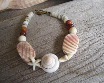 Sea shell bracelet, hawaiian shell bracelet, island jewelry, tropical carved shell bracelet