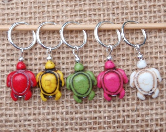Sea turtle stitch markers, set of five