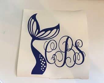 Mermaid tail decal  with initials included sticker Mermaid tail car decal