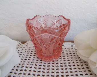 Beautiful Vintage Pink Pressed Glass Toothpick Holder Imperial Lenox Carnival Glass Romantic Shabby Chic Cottage Hollywood Regency Kitchen