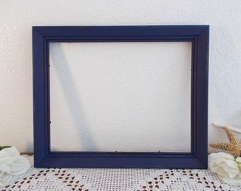 Navy Blue Picture Frame Rustic Shabby Chic Distressed Photo Decoration Beach Cottage Coastal Seaside Nautical Home Decor Wedding Reception
