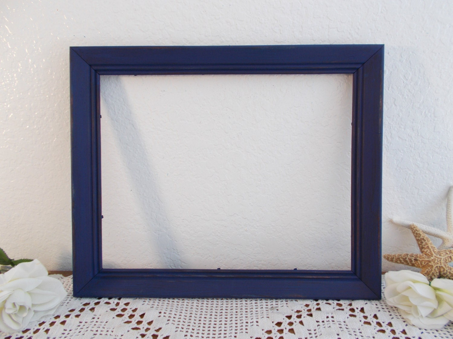 Navy Blue Picture Frame Rustic Shabby Chic Distressed Photo
