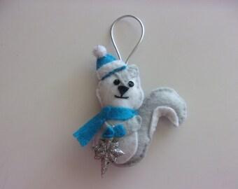"""Handmade Felt SQUIRREL Ornament 3""""w x 4""""h"""
