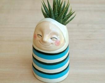 Little breath red number 24, vase in a stripey blue suit. Handmade vase, handmade pottery, handmade planter, ceramic vase, ceramic planter