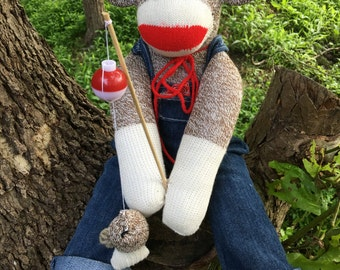 Handmade Fishing Sock Monkey