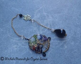Chakra Moon Black Onyx and Moonstone Dowsing Pendulum (DP0220)