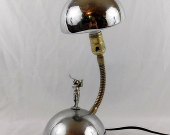 Vintage goose neck  golfing lamp  light , chrome modernist style