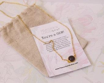 You're a Gem - Amethyst Delicate Modern Gemstone Necklace in Gold